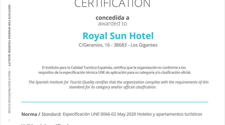 Certificate of safe tourism royal sun resort acantilado de los gigantes